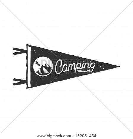 Camping pennant template. Tent and text sign. Monochrome design. Stock vector isolated on white background.