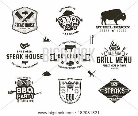 Set of vintage steak house, bbq party, barbecue grill badges, labels. Retro typography hand drawn style. Butcher logo design with letterpress effect.Vector illustration isolated on white background.