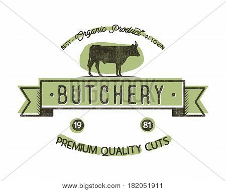 Butchery Shop vintage emblem. Butchery store Logo template retro style. Vintage design for logotype, label, t shirt, tee, badge and brand design. Stock vector illustration