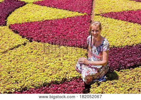 Caucasian woman as tourist in botanical garden