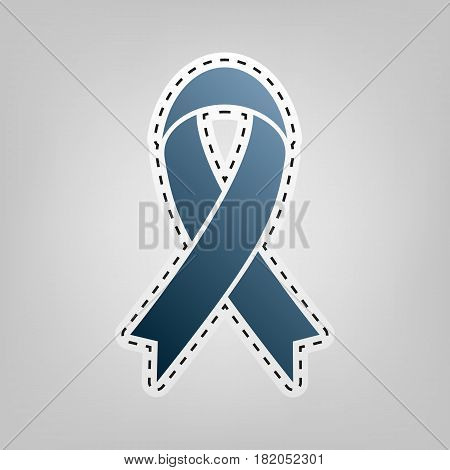 Black awareness ribbon sign. Vector. Blue icon with outline for cutting out at gray background.