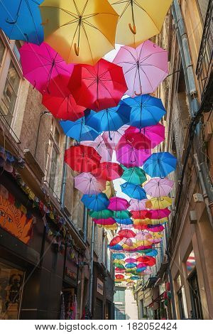 Umbrella street in the historic center of Avignon in France