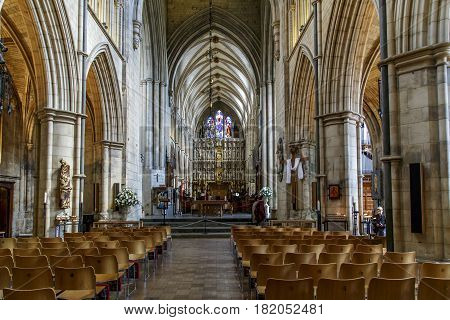 LONDON, GREAT BRITAIN - MAY 13, 2014: This is interior of the Southwark Cathedral which was built in the Middle Ages.