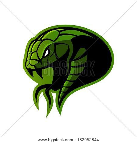 Furious green snake sport vector logo concept isolated on white background. Modern professional team badge design.Premium quality wild animal t-shirt tee print illustration.