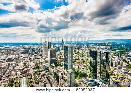 Frankfurt Am Main Skyline Panorama With Dramatic Cloudscape, Hessen, Germany