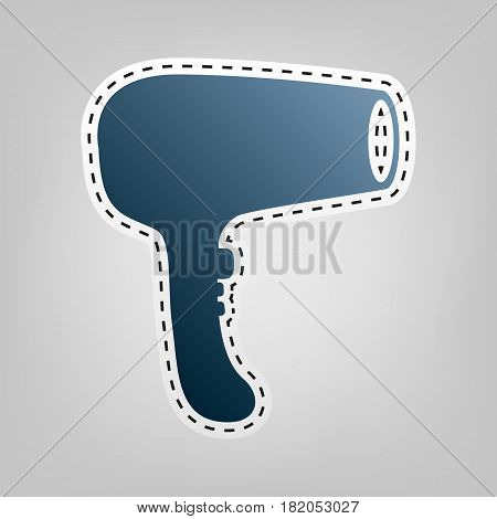 Hair Dryer sign. Vector. Blue icon with outline for cutting out at gray background.