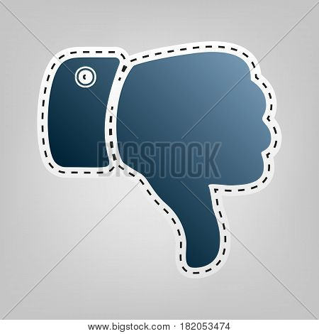 Hand sign illustration. Vector. Blue icon with outline for cutting out at gray background.