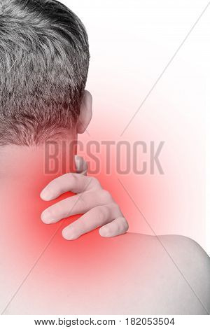 Acute pain in neck and shoulder. hand massage neck and shoulder isolated white background office syndrome concept