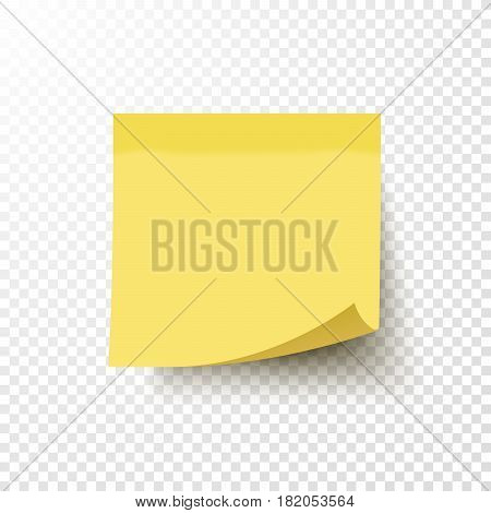 Yellow sticky note with curled corner isolated on transparent background. Note post memo label. Realistic template mockup with shadow for your projects. Vector stock illustration.