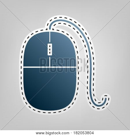 Mouse sign illustration. Vector. Blue icon with outline for cutting out at gray background.