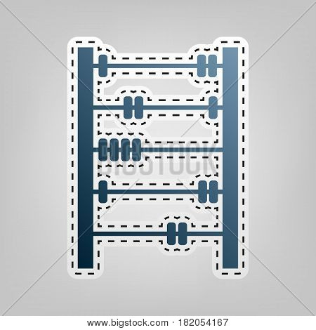 Retro abacus sign. Vector. Blue icon with outline for cutting out at gray background.