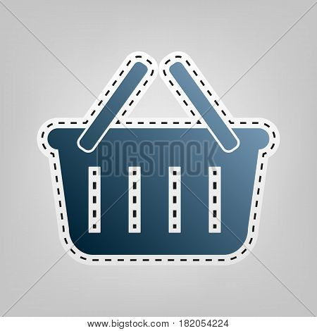 Shopping basket sign. Vector. Blue icon with outline for cutting out at gray background.