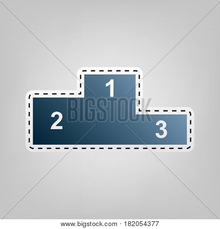 Sofa sign illustration. Flat style icon. Vector. Blue icon with outline for cutting out at gray background.