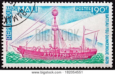 MALI - CIRCA 1976: a stamp printed in Mali shows Lightship Ruytingen Dunkirk circa 1976