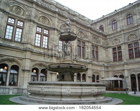 Vienna, Austria - May 02, 2010: Fountain in front of the Vienna Opera in Vienna, Austria