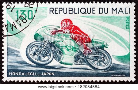 MALI - CIRCA 1976: a stamp printed in Mali shows Motorcycle Honda-Egli Japan circa 1976