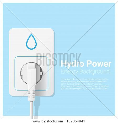 Green energy concept background with hydro power and electric plug , vector , illustration