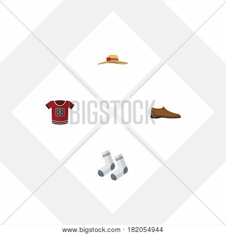 Flat Garment Set Of T-Shirt, Male Footware, Foot Textile And Other Vector Objects. Also Includes Socks, Footware, Headgear Elements.