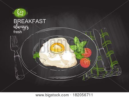 Fried eggs with bacon, salad on a plate with knife and fork. Tasty breakfast perfect fried egg . top view. vector chalk drawing on the blackboard illustration