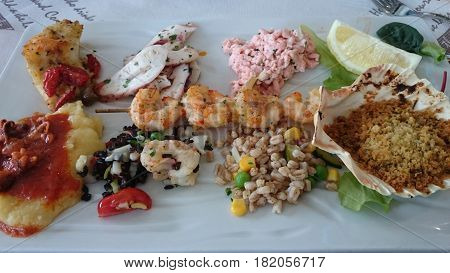 hot seafood appetizer of heated plate hot seafood appetizer of heated plate