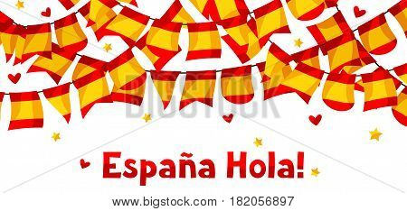 Celebration background with garlands waving Spanish flags.