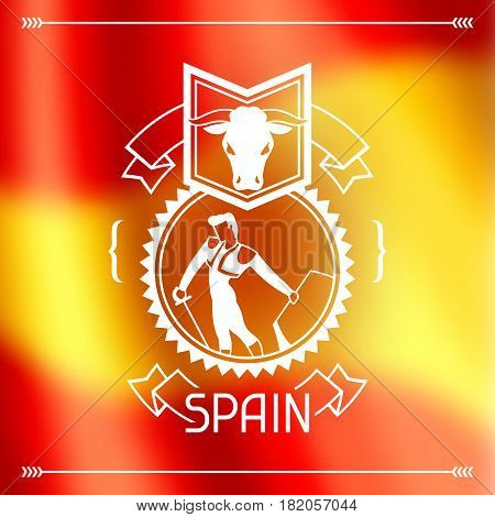 Traditional spanish corrida. Spain background design on blurred flag.