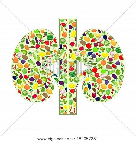 Two kidneys silhouettes with fruit and vegetables