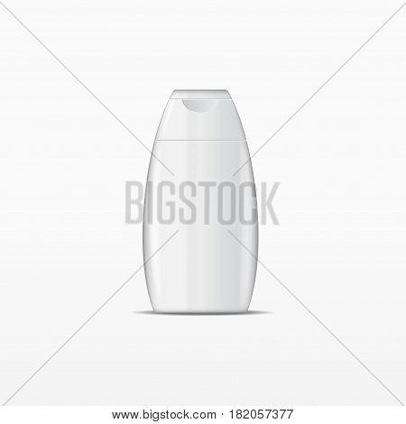 White shampoo bottle without label isolated on white background
