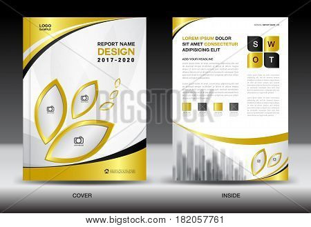Business Brochure flyer templater Gold cover design annual report Book Magazine ads company Profile layout in A4 size poster catalog leaflet newsletter Advertisement presentation infographics leaf icon
