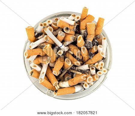 Cigarettes in an ashtray isolated on white background