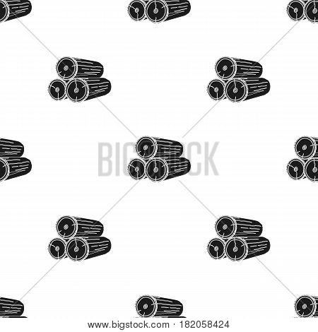 Stack of logs icon in black style isolated on white background. Sawmill and timber pattern vector illustration.