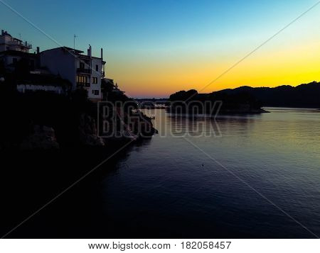 dawn view of old skiathos town just before the sun comes up