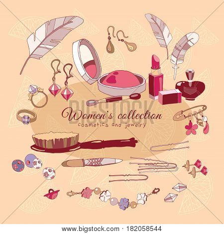 Fashion accessories collection female glamorous accessories woman shopping hand drawn vector. Cosmetics jewelery make up