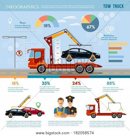 Tow truck for transportation faults and emergency cars tow truck infographic vector. Car service infographic auto towing