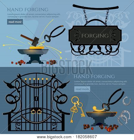 Forging on gland creation of iron fencings and fences. Blacksmith hammer and anvil work in smithy. Professional smith banner. Iron works concept