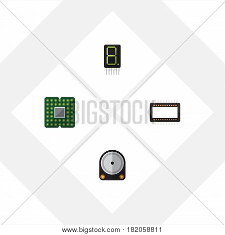 Flat Technology Set Of Hdd, Display, Mainframe And Other Vector Objects. Also Includes Unit, Calculator, Central Elements.