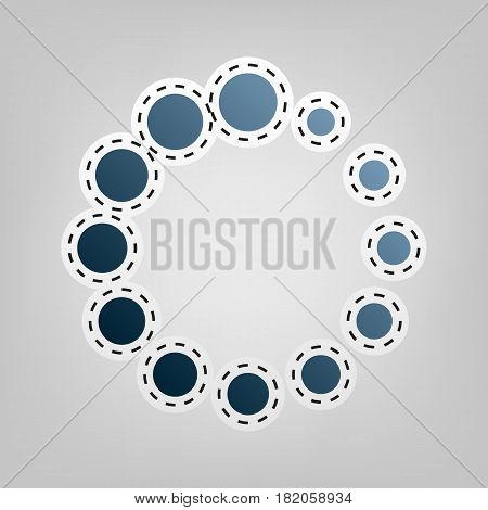 Circular loading sign. Vector. Blue icon with outline for cutting out at gray background.