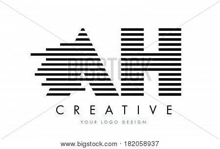 Ah A H Zebra Letter Logo Design With Black And White Stripes