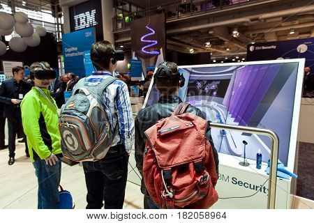 Hannover, Germany - March, 2017: Virtual reality experience on IBM stand on exhibition fair Cebit 2017 in Hannover Messe, Germany