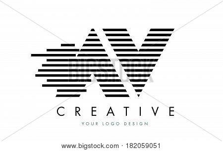 Av A V Zebra Letter Logo Design With Black And White Stripes