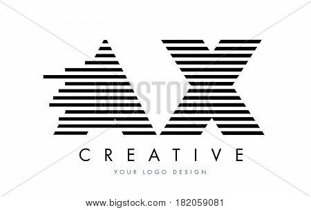 Ax A X Zebra Letter Logo Design With Black And White Stripes