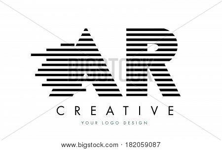 Ar A R Zebra Letter Logo Design With Black And White Stripes