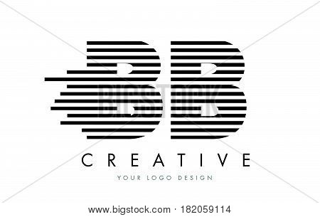 Bb B B Zebra Letter Logo Design With Black And White Stripes
