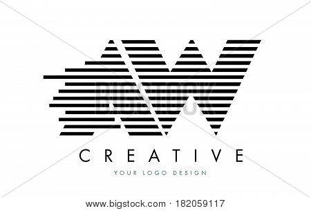 Aw A W Zebra Letter Logo Design With Black And White Stripes