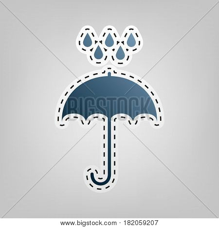 Umbrella with water drops. Rain protection symbol. Flat design style. Vector. Blue icon with outline for cutting out at gray background.