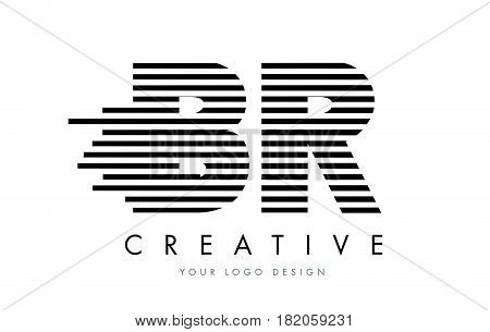 Br B R Zebra Letter Logo Design With Black And White Stripes