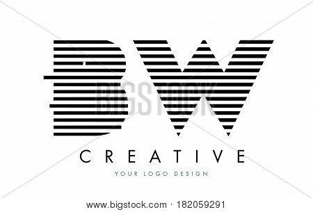 Bw B W Zebra Letter Logo Design With Black And White Stripes