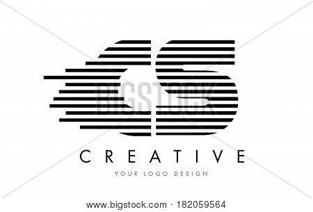Cs C S Zebra Letter Logo Design With Black And White Stripes