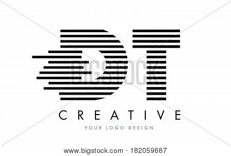 Dt D T Zebra Letter Logo Design With Black And White Stripes