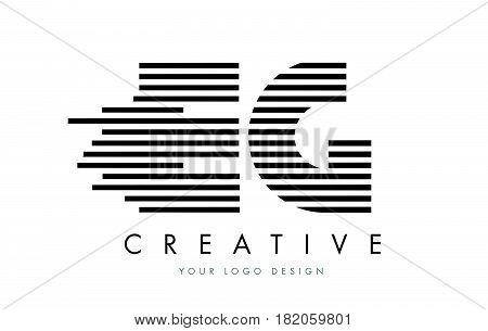 Eg E G Zebra Letter Logo Design With Black And White Stripes